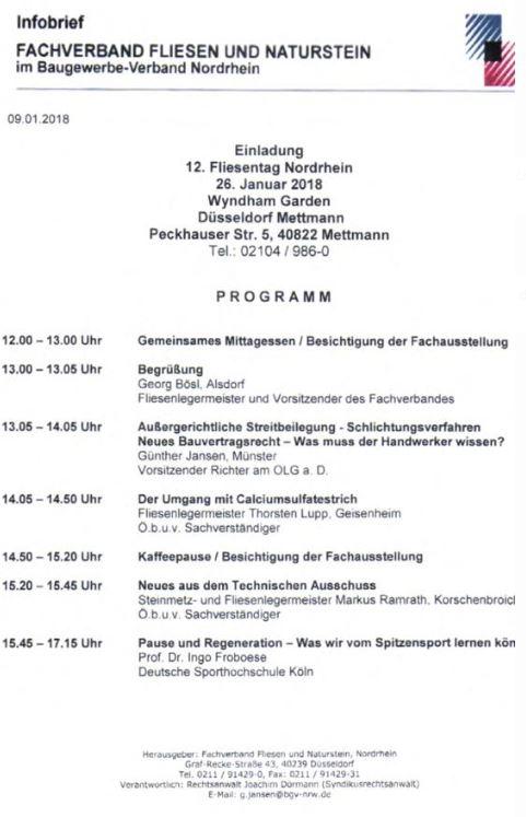 Infobrief Fachverband Fliesen und Naturstein Nordrhein